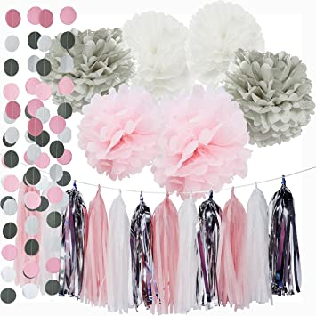 First Birthday Decorations Girl Baby Pink Grey Baby Girl Baby Shower/ Party  Decorations Tissue Paper