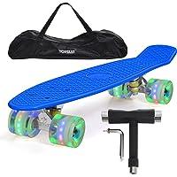 "Yorbay 22"" Mini Cruiser Skate 56cm Skateboard Complet avec Le Sac et T-Tool (Planche Bleue/LED Transparente Roue)"