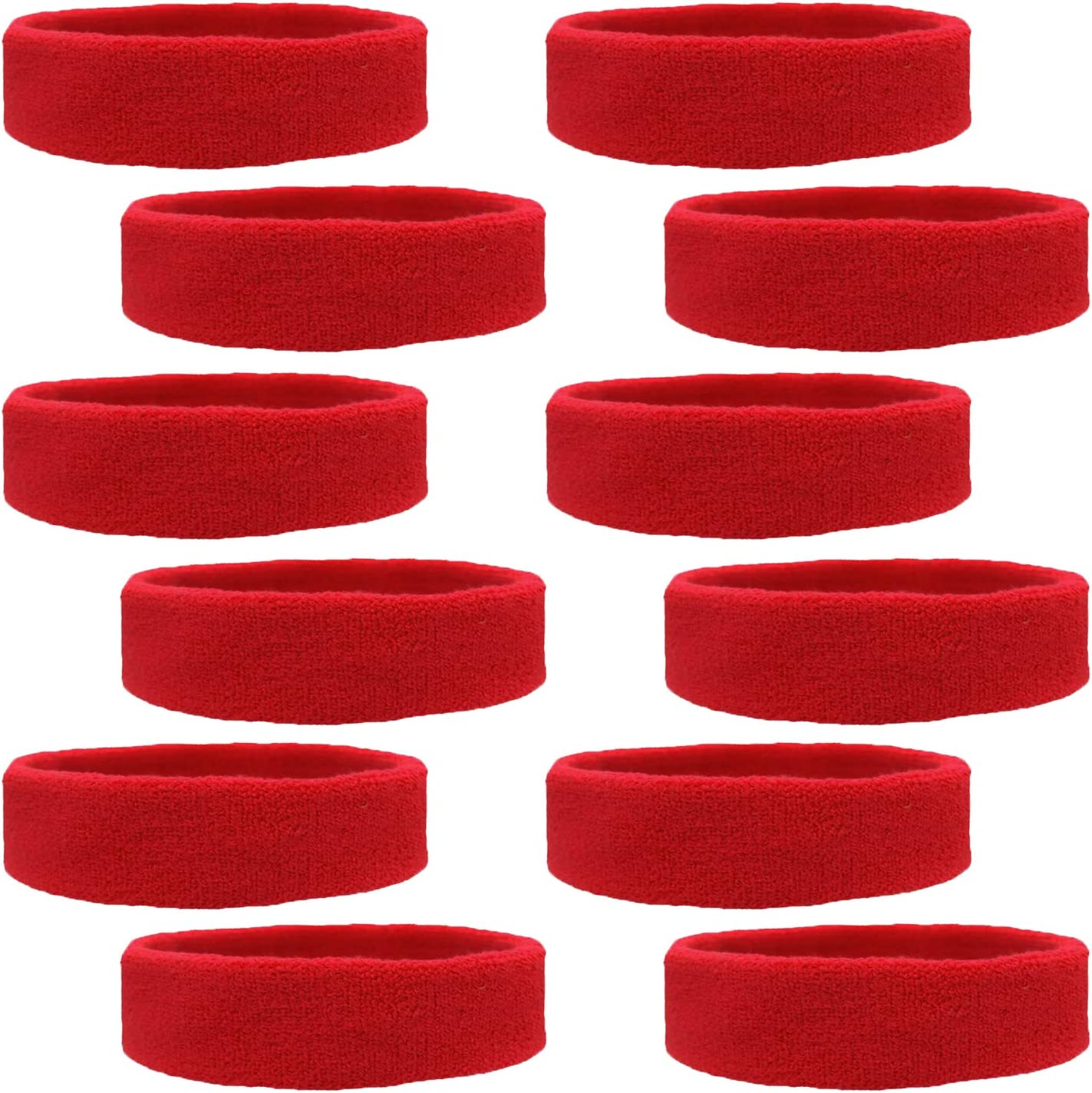 Kenz Laurenz 12 Sweatbands Cotton Sports Headbands Terry Cloth Moisture Wicking Athletic Basketball Headband