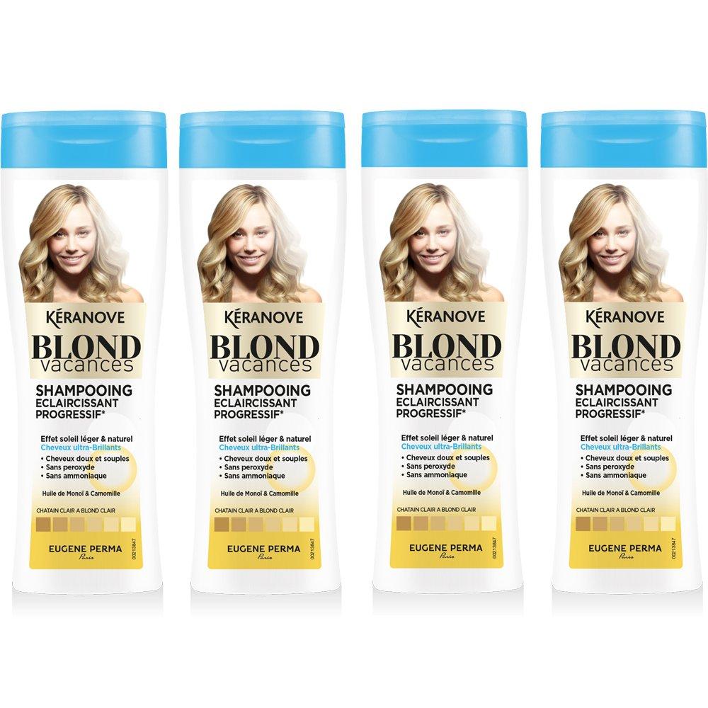 Kéranove Blond Vacances Shampoing Éclaircissant Progressif à l'Huile de Monoï/de Camomille - Lot de 4
