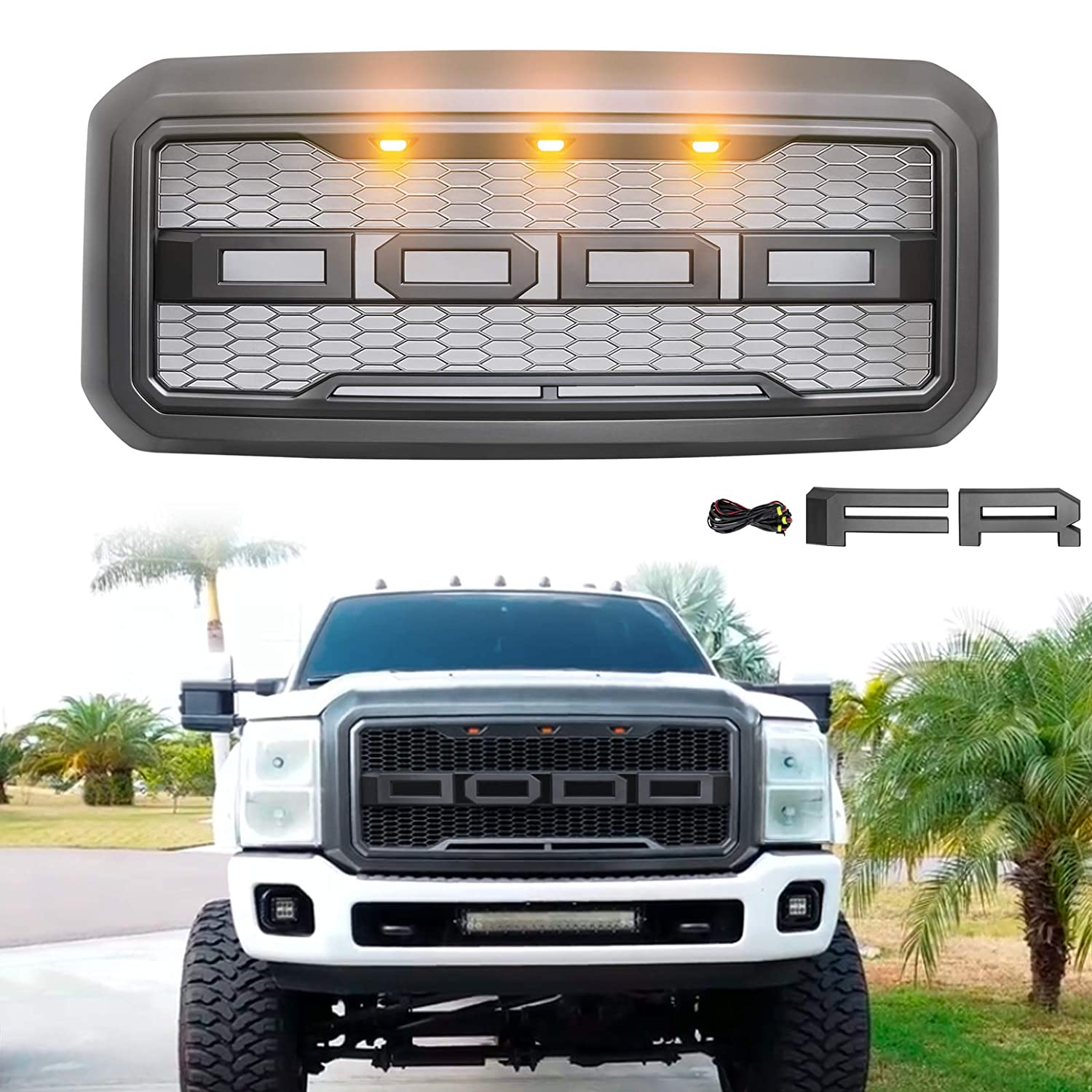Modifying Ford Front Grille for 2011-2016 Ford F-250 F-350 F-450 F-550 Raptor Style Grill with 3 LED Amber Lights