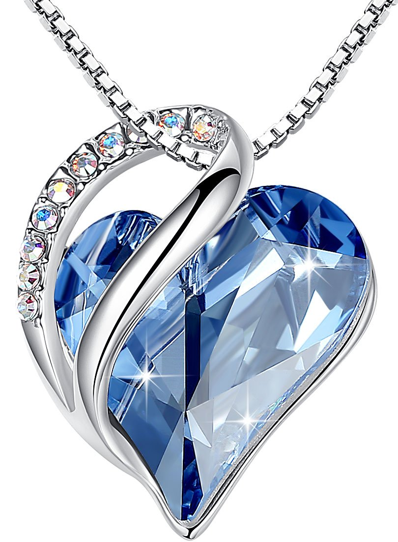 Leafael [Presented by Miss New York Infinity Love Made with Swarovski Crystals Light Blue Sapphire Heart Pendant Necklace, Silver-Tone, 17+2'', Nickel