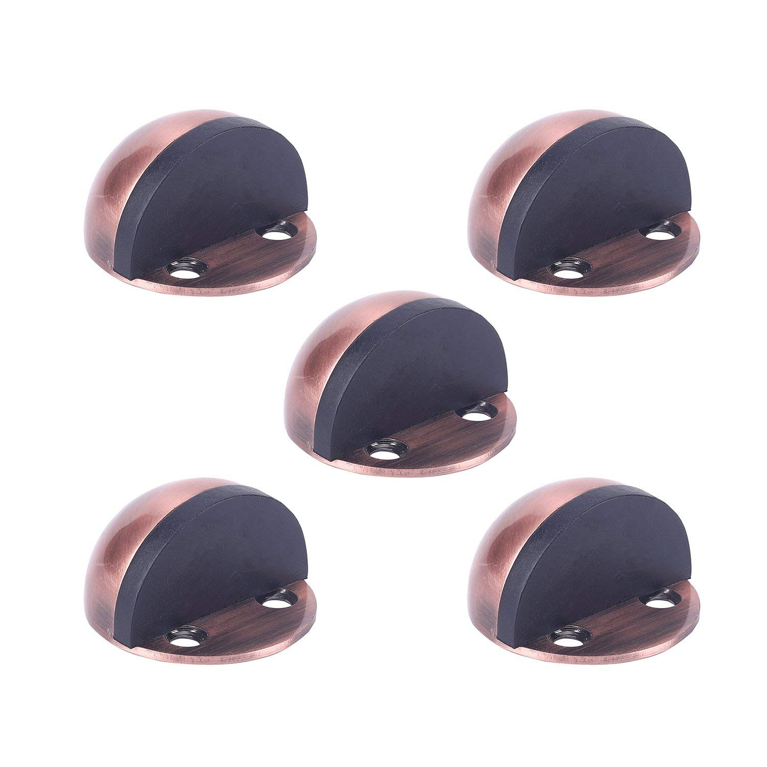 TPOHH Red Antique Copper Stainless Steel Half Dome Floor Door Stop with Double-Sided Adhesive Tape No Need to Drill, 5 PCS