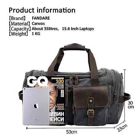 FANDARE Rétro Messenger Bag Sac Bandoulière Sacs Portés épaule Sac de Sport Sac de Voyage Sac pour Duffle Cuir Toile lwIRtddP4j