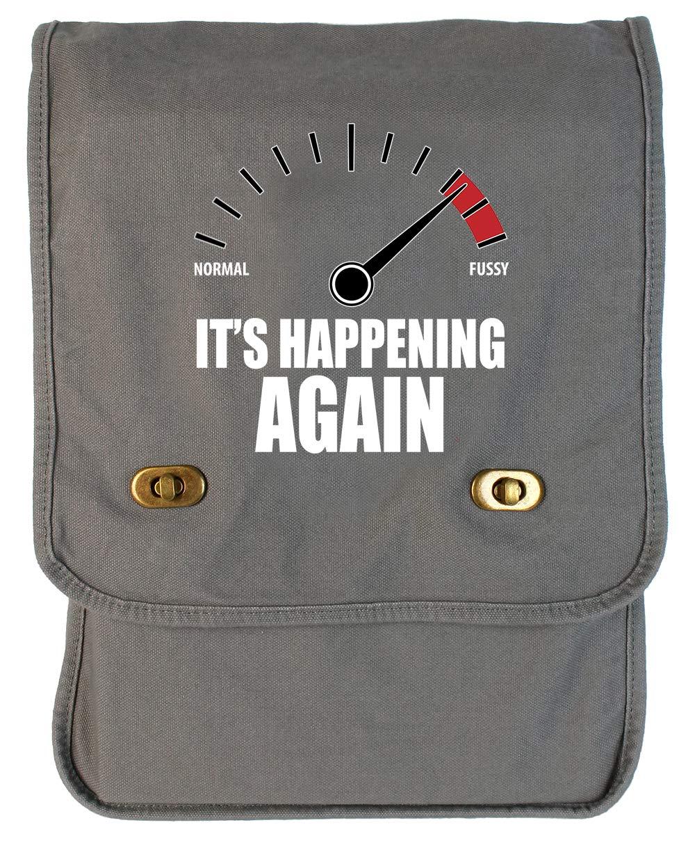 Tenacitee Fussy Its Happening Again Khaki Green Raw Edge Canvas Messenger Bag