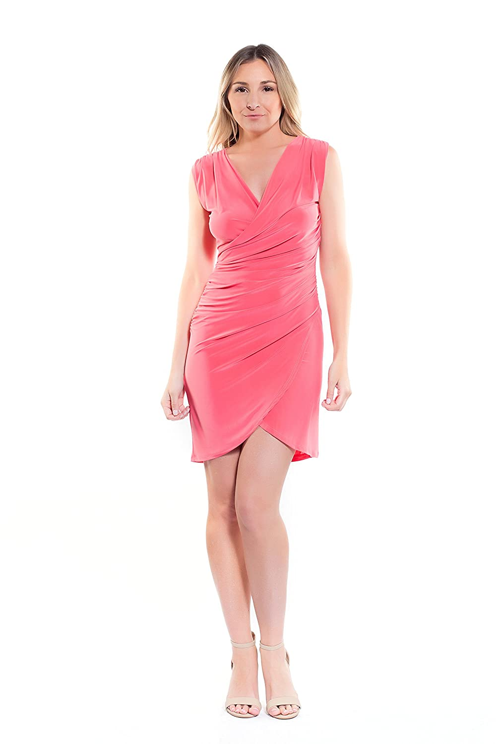 D64915 Coral Instar Mode Women's Night Out of Town Surplice Sleeveless Side Tucked Mini Dress