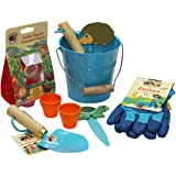 Little Pals Kids Gardening Set, Bucket of Fun, Blue, with Kids Garden Tools, Gloves and Popcorn Seeds