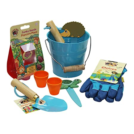 Little Pals Kids Gardening Set, Bucket Of Fun, Blue, With Garden Tools, Gloves And Popcorn Seeds: Amazon.co.uk: Toys \u0026 Games Childrens Tools Set