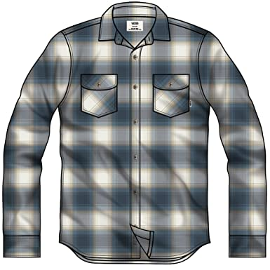 2b30ceddd83 Vans Men s Banfield Plaid Flannel Long Sleeve Shirt at Amazon Men s Clothing  store