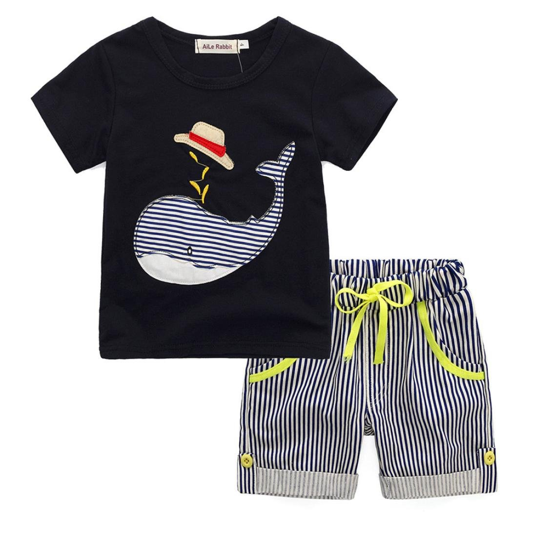 ba5922475bf0 Amazon.com  Toddler Kids Baby Boy Summer Cartoon T-shirt Top+Striped Short  Pants Outfit Clothes 2Pcs Set  Clothing