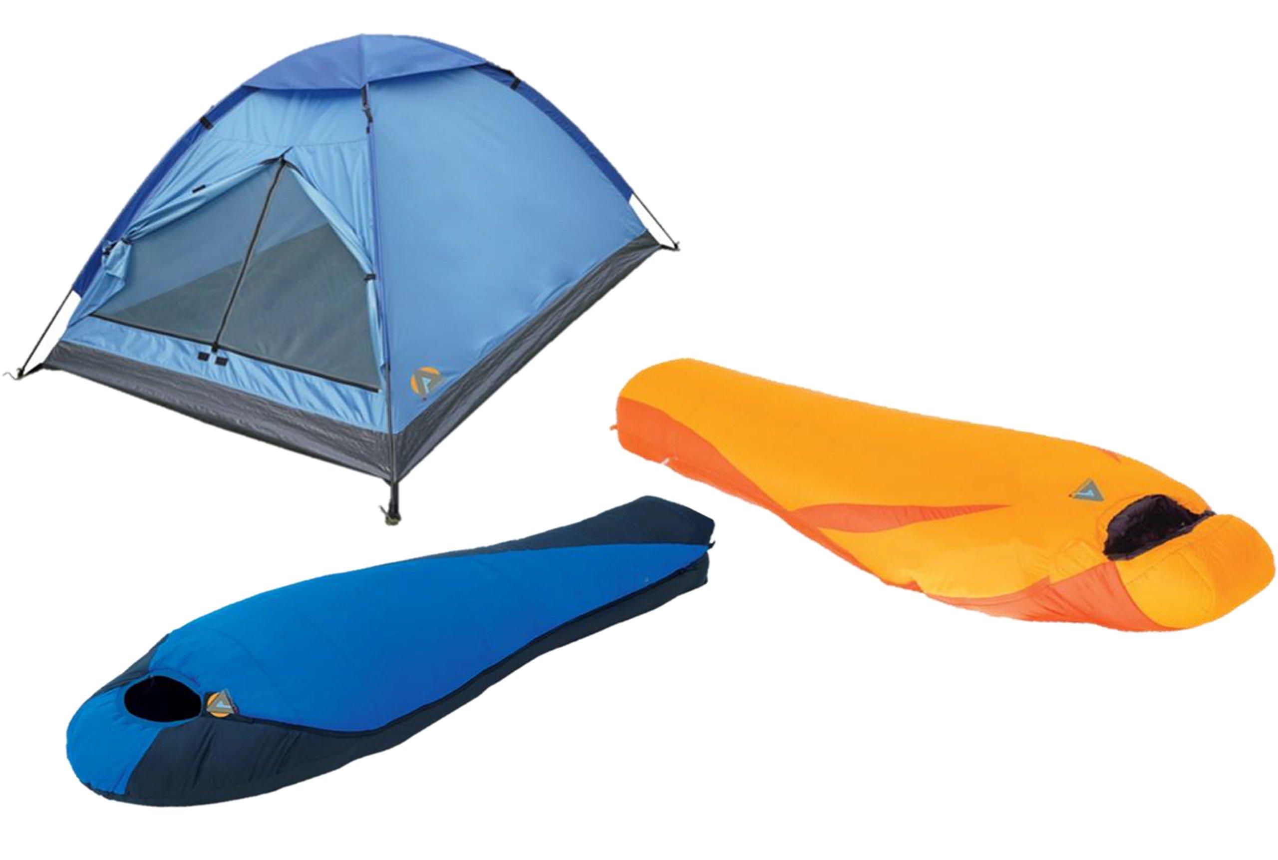 High Peak USA Alpinizmo Extreme Pak 0F & Latitude 20F Sleeping 3 Men Tent Combo Set, Blue/Orange, One Size by Alpinizmo