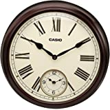 Casio Round Wood Analog Wall Clock (36 x 36 x 7.5 cm, White and Brown)