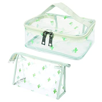 633c6a9d773f Amazon.com   2 Pack Clear Cactus Cosmetic Bag Portable PVC Transparent  Waterproof Travel Makeup Bag Colorful Hand Pouch Toiletry Organizer Set  with Zipper ...