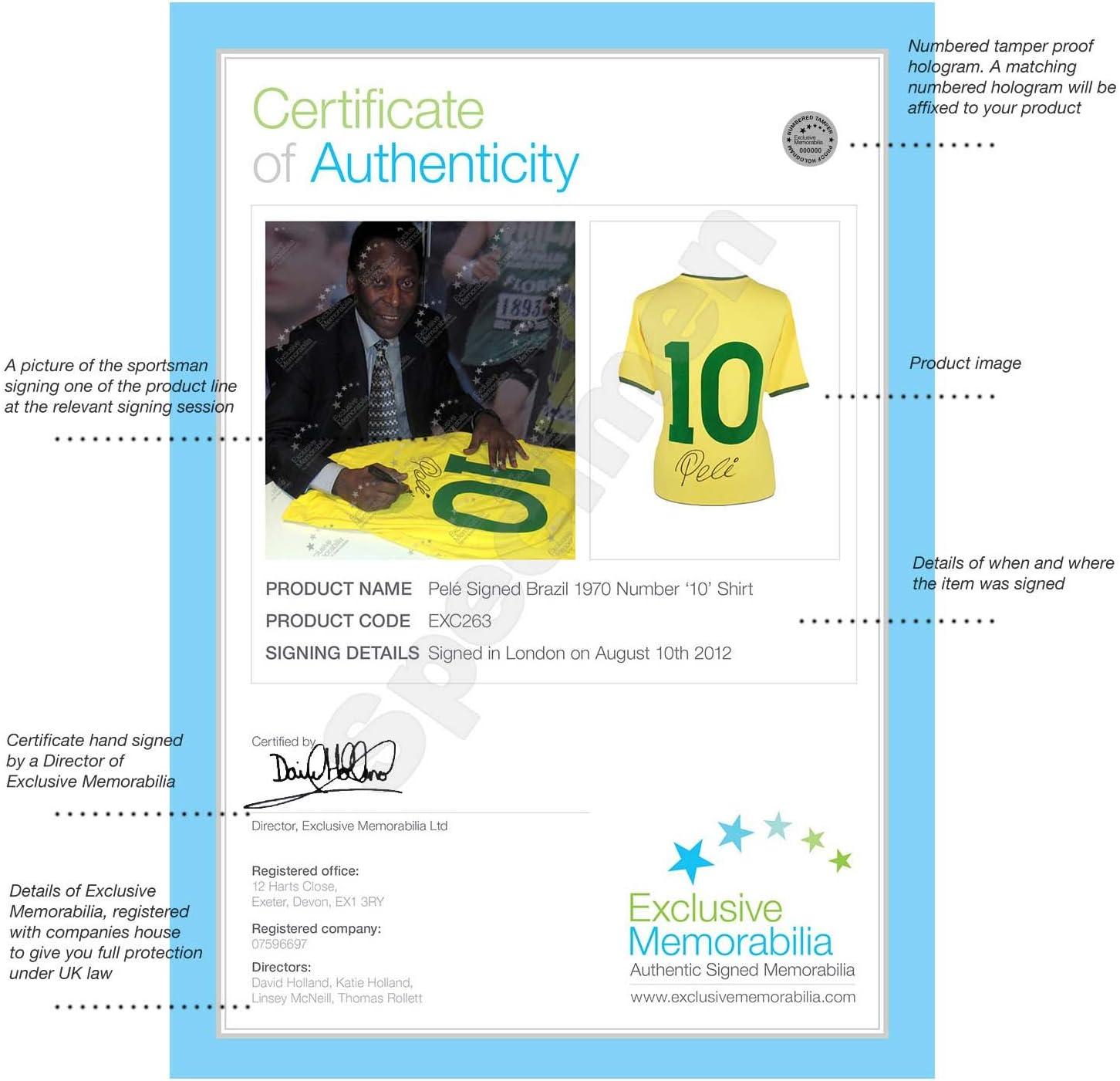 Pelé Oro enmarcado número 10 camiseta de fútbol brasileño firmó en ...