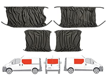 Grey Camper Van Curtains Kit for Left Hand Sliding Door, Right Hand on
