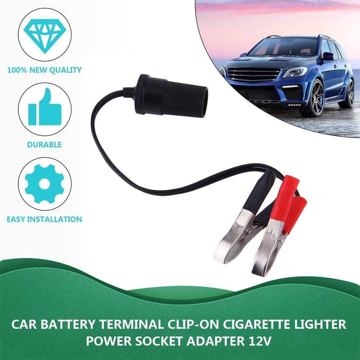 Rouku Neue 12 Volt Batterieklemme Clip-on Zigarettenanz/ünder Steckdose Adapter Stecker Auto Boot Van F/ür Camping