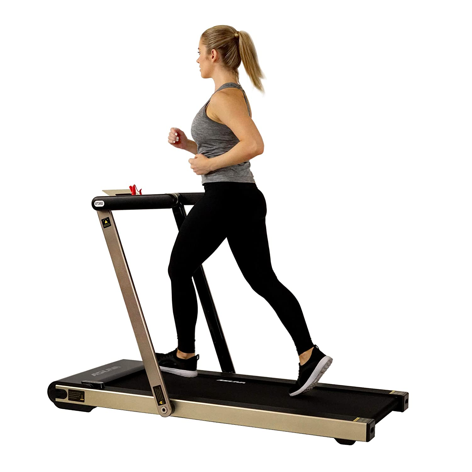 Sunny Health Fitness Asuna Space Saving Treadmill, Motorized with Speakers for AUX Audio Connection – 8730G