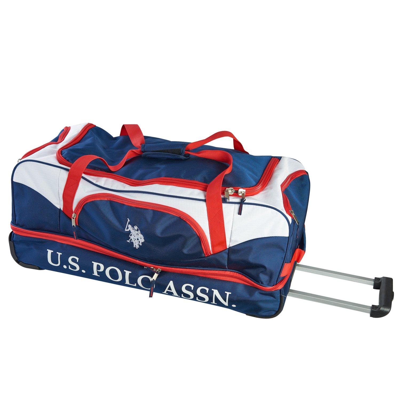 U.S. Polo Assn. Men s 30in Deluxe Rolling Duffle Bag, Split Level Storage, NAVY RED