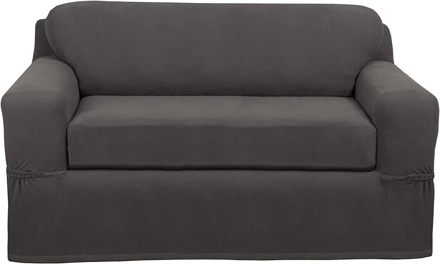 MAYTEX Pixel Ultra Soft Stretch 2 Piece Furniture Cover Loveseat Slipcover, Charcoal