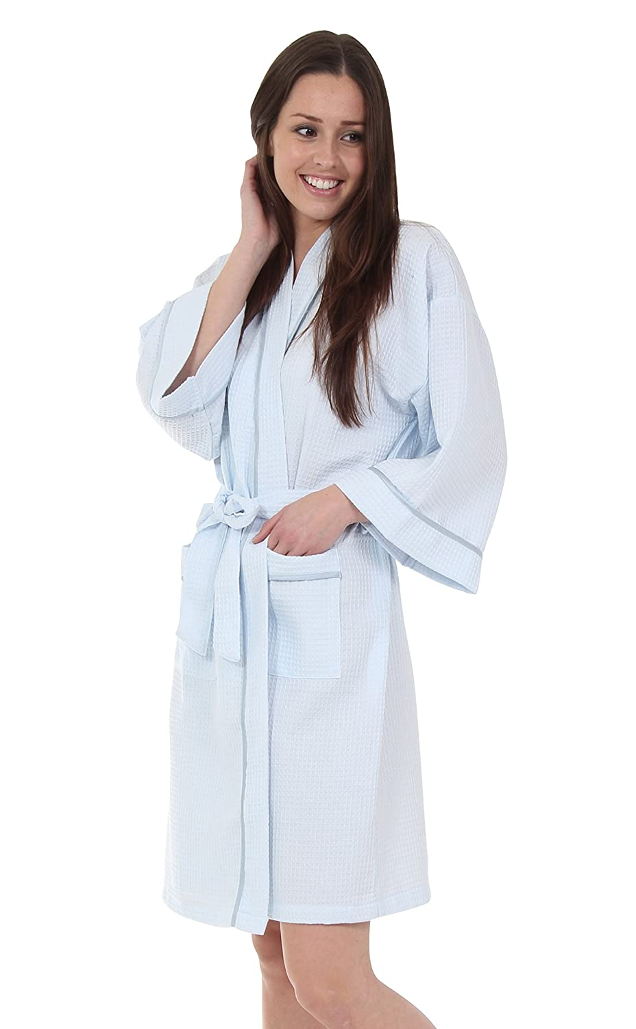 Luxury Spa Bathrobe Dressing Gown in Soft Waffle Fabric with Satin Trim in White, Soft Pink and Light Blue