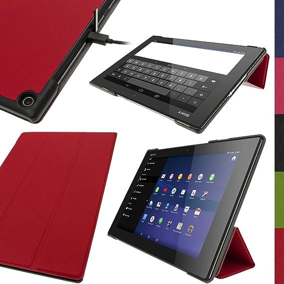 igadgitz Rot PU Ledertasche Hülle Smart Cover für Sony Xperia Z2 Tablet SGP511 10.1