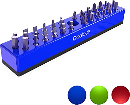 Blue Olsa Tools Magnetic 16 Screwdriver Organizer Premium Tool Holder Garage