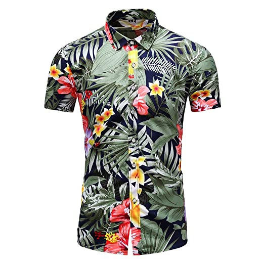 0fedbcbe8 Amacok Men's Hawaiian Shirt Short Sleeve Shirt Summer Beach Party Flower  Shirt Holiday Casual Shirts (