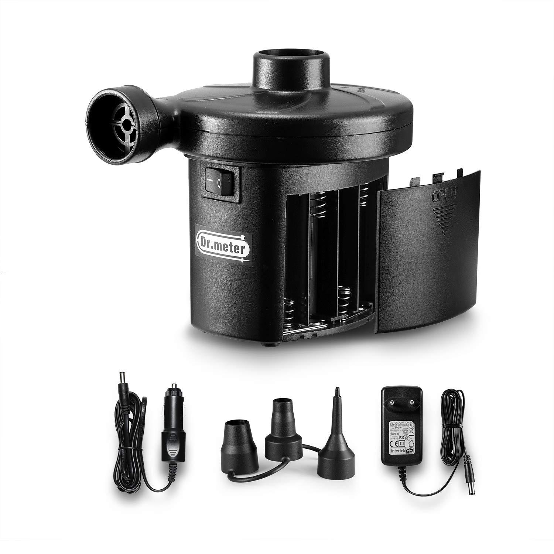 Dr.meter Inflador Electrico flotadores de Piscina neum/áticos Ideal para inflado r/ápido de Camas de Aire Bomba de inflado el/éctrica con bater/ía Inflado//Desinflado Bater/ías CA 220V // DC 12V