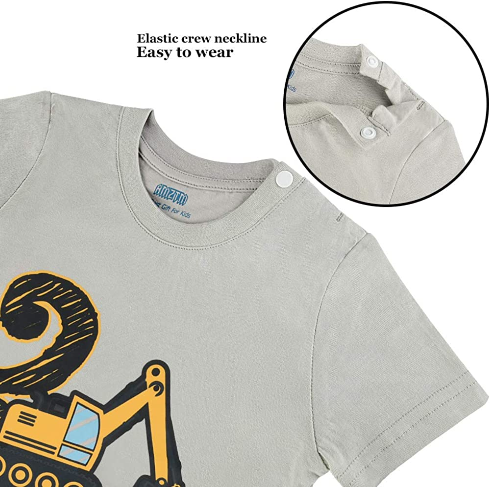 AMZTM 2nd Birthday Construction Party T-Shirt 2 Years Old Toddler Boy B-Day Tee