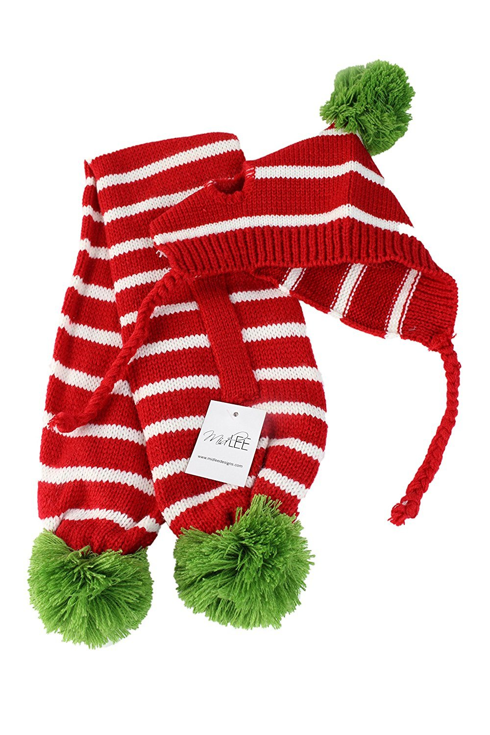 Red & White Striped Pom Pom Dog Hat & Scarf for Small Dogs by Midlee