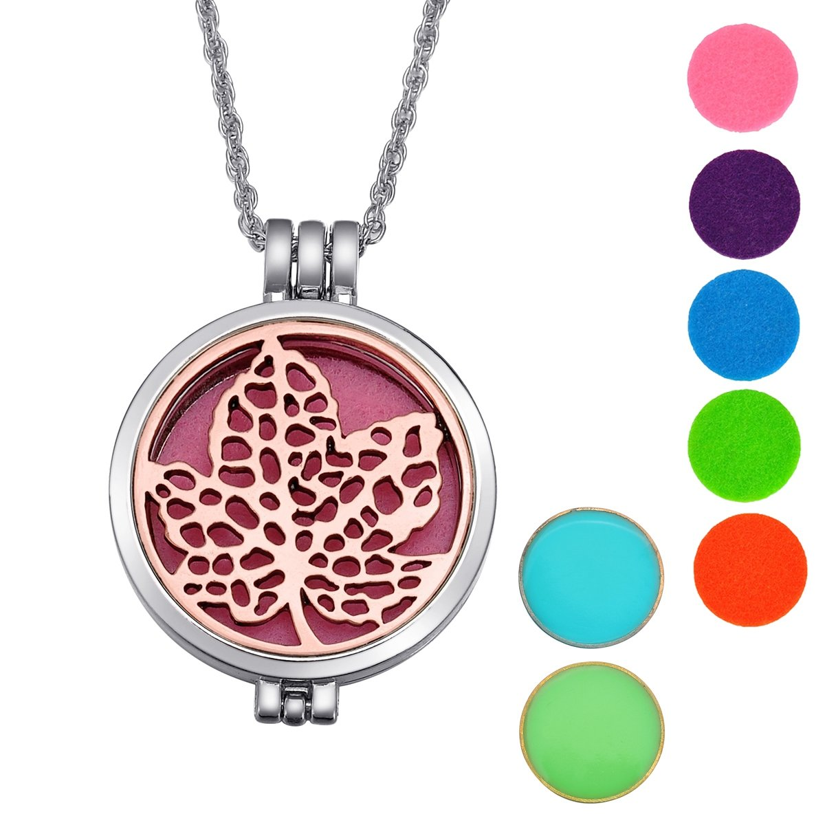Aromatherapy Essential Oil Diffuser Necklace Window Grille Luminous Pendant Locket Supreme glory Necklace1201A131