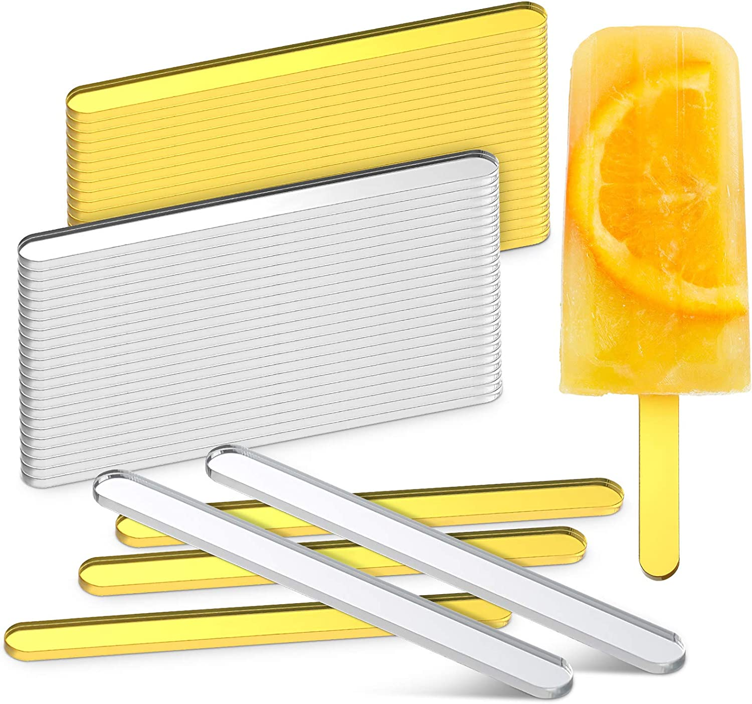 50 Pieces Acrylic Cakesicle Popsicle Sticks 4.5 Inch Mirror Popsicle Sticks Reusable Creamsicle Popsicle Sticks Ice Cream Acrylic Popsicle Stick for DIY Crafts, Party Favor, Gold and Silver