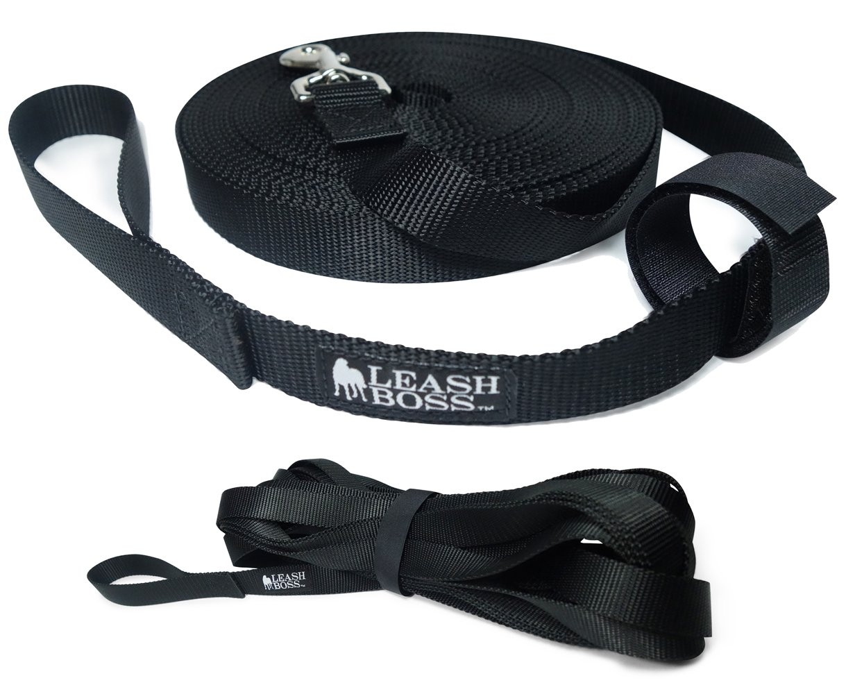 Leashboss Long Trainer - 20 Foot Lead - 1 Inch Nylon Long Dog Training Leash with Storage Strap - K9 Recall - for Large Dogs (20 Ft, 1 in, Black)