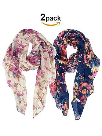 eaf197e67c76 DAMILY 2 Packs Foulards Légers Pour Femmes, Dames Jolie Grand Printemps Châle  Wrap, Fleur