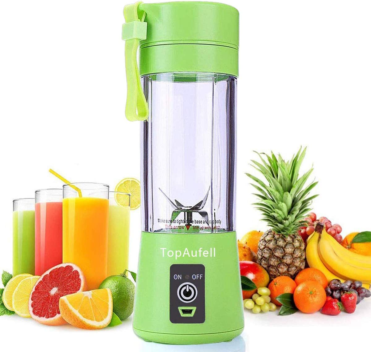 Personal Blender, Portable Juicer Cup/Electric Fruit Mixer/USB Juice Blender, Rechargeable, Six Blades In 3D For Superb Mixing, 380mL - (Green)