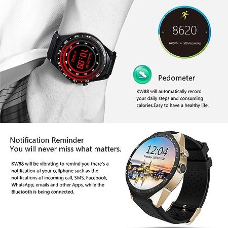 King-Wear KW88 SmartWatch Podómetro Dispositivo de Ritmo Cardíaco Anti-perdido para Android 5.1 OS Soporte WiFi Negro Tarnish/Black Gold: Amazon.es: ...