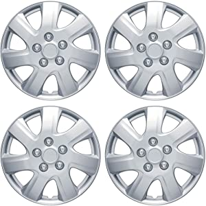 """BDK KT-1021-16 King1 Silver Hubcaps Wheel Covers for Toyota Camry 2006-2014 16"""" – Four (4) Pieces Corrosion-Free & Sturdy – Full Heat & Impact Resistant Grade – OEM Replacement, 4 Pack"""