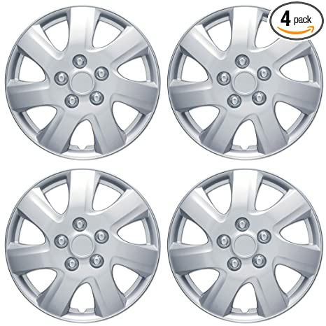 "BDK KT-1021- King1 Silver Hubcaps Wheel Covers for Toyota Camry 2006-2014 16"" – Four (4) Pieces Corrosion-Free & Sturdy – Full Heat & Impact Resistant ..."