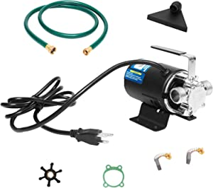 FPOWER 115V 1/10 HP 330 GPH Self-Priming Utility Portable Water Transfer Pump With 3/4 in. Ports Suction Hose/Strainer And Spare Impeller