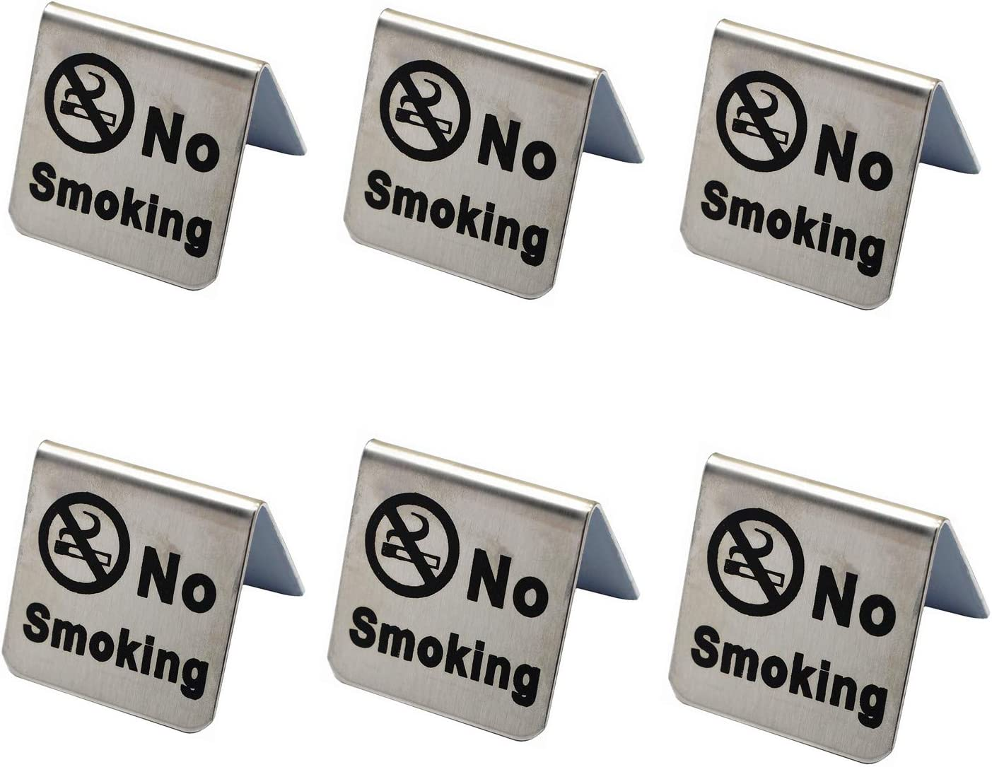 ZHU YU CHUN Small Stainless Steel No Smoking Table Sign, Non-Smoking Desk Logo Indicator, 2 by 2 Inch (Pack of 6)