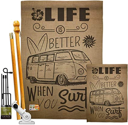 Ornament Collection Fk191193 P3 Life Is Better When You Surf Kombi Bus Coastal Nautical Impressions Decorative Vertical 28 X 40 Flags Kit Printed In Usa Multi Color Garden Outdoor
