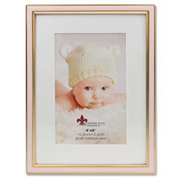Amazoncom Lawrence Frames 4x6 Matted Pink Enamel And Satin Gold