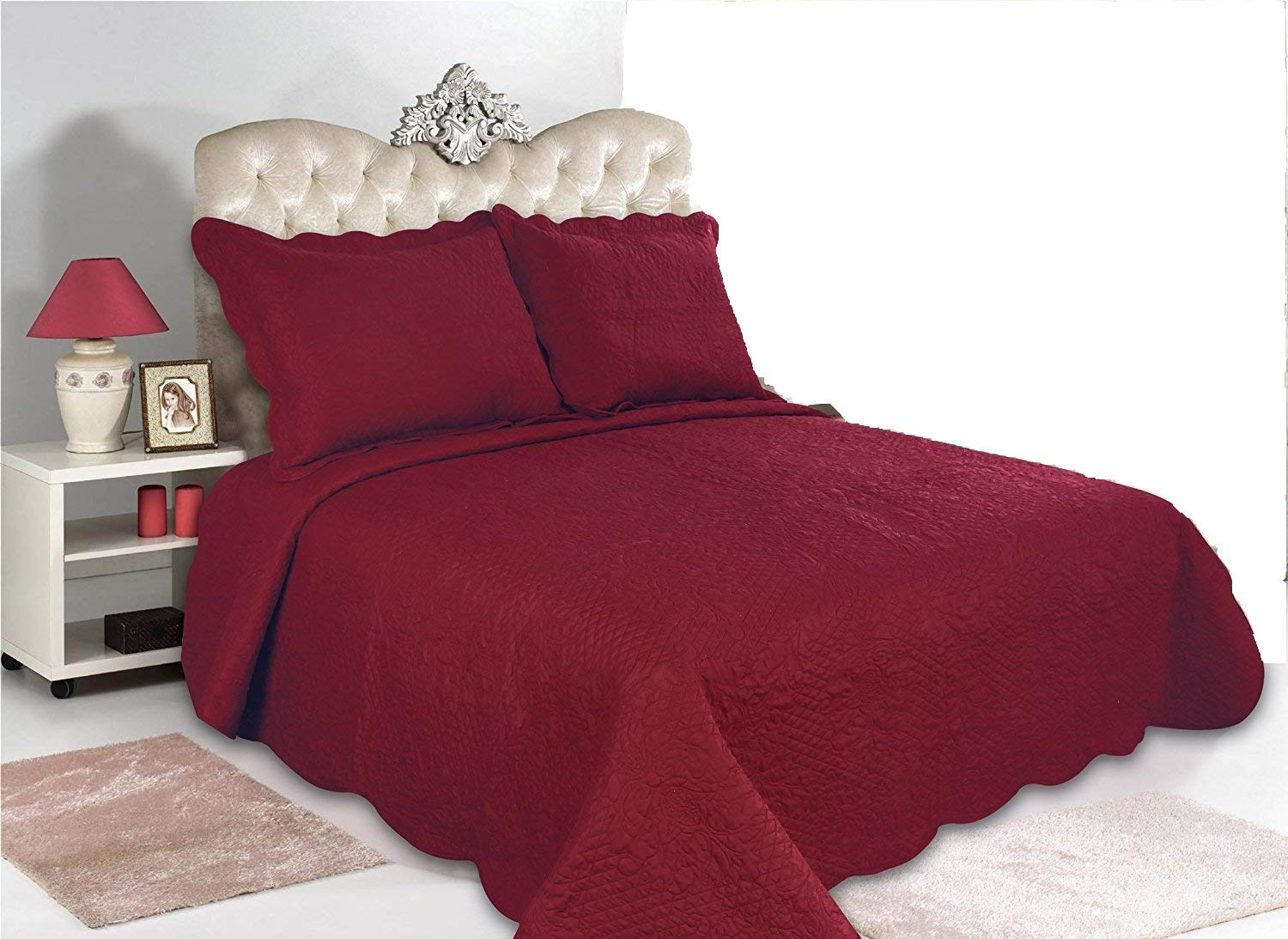 ALL FOR YOU 2pc Reversible Quilt Set, Bedspread, and Coverlet-Burgundy Color (Twin, Burgundy)