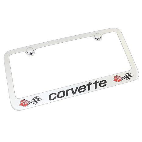 Amazon.com: Corvette C3 Dual Logo Chrome Brass License Plate Frame ...