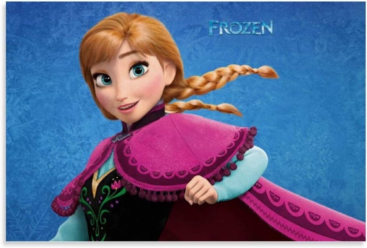 SSKJTC Decoración de Sala de Salón Decoraciones de Baño Películas Animadas Películas Frozen Pelirroja Ojos Azules Princesa Anna Obras de Arte Para Sala de estar Dormitorio 30x45cm