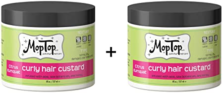 MopTop Curly Hair Custard Gel for Fine, Thick, Wavy, Curly Kinky-Coily Natural hair, Anti Frizz Curl Moisturizer, Definer Lightweight Curl Activator w Aloe, great for Dry Hair. 2ea