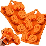 Dymals 2 Pcs Halloween Party Candy Mold, Funny 6-Cavity Pumpkin Bat Witch Face Skull Ghost Shape Silicone Tools…