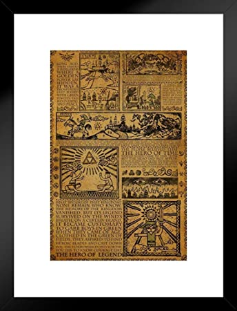 Pyramid America Zelda Story of The Hero Mythology Timeline Video Game Gaming Matted Framed Poster 20×26 inch