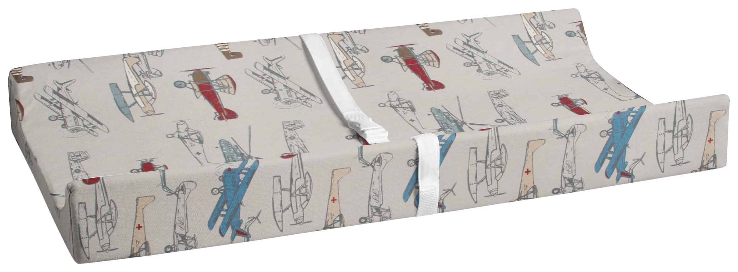 Glenna Jean Fly-by Diaper Changing Pad, Grey Cover-Airplane Print