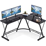 "Casaottima L Shaped Gaming Desk, 51"" Home Office Desk with Round Corner Computer Desk with Large Monitor Stand Desk Workstati"